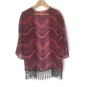 Sunny Leigh Womens kimono fringe 3/4 Sleeve Sz S